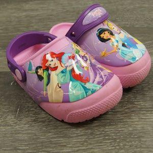 Crocs DIsney Princess Slip Ons Pink Purple 7 Kids